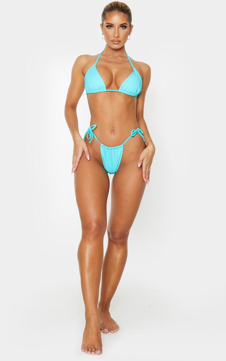 Turquoise Reflective Adjustable Tie Side Bikini Bottoms 5