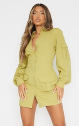 Olive Pocket Detail Utility Bodycon Dress 1