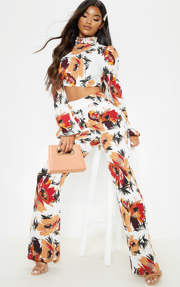 White Floral Print Wide Leg Trousers 1