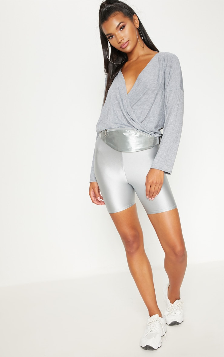 Grey Jersey Drape Wrap Top 1