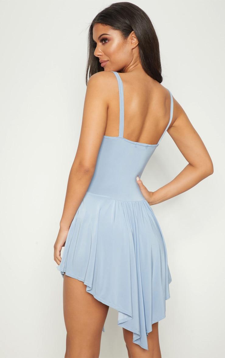 Dusty Blue Slinky Asymmetric Hem Swing Dress 2