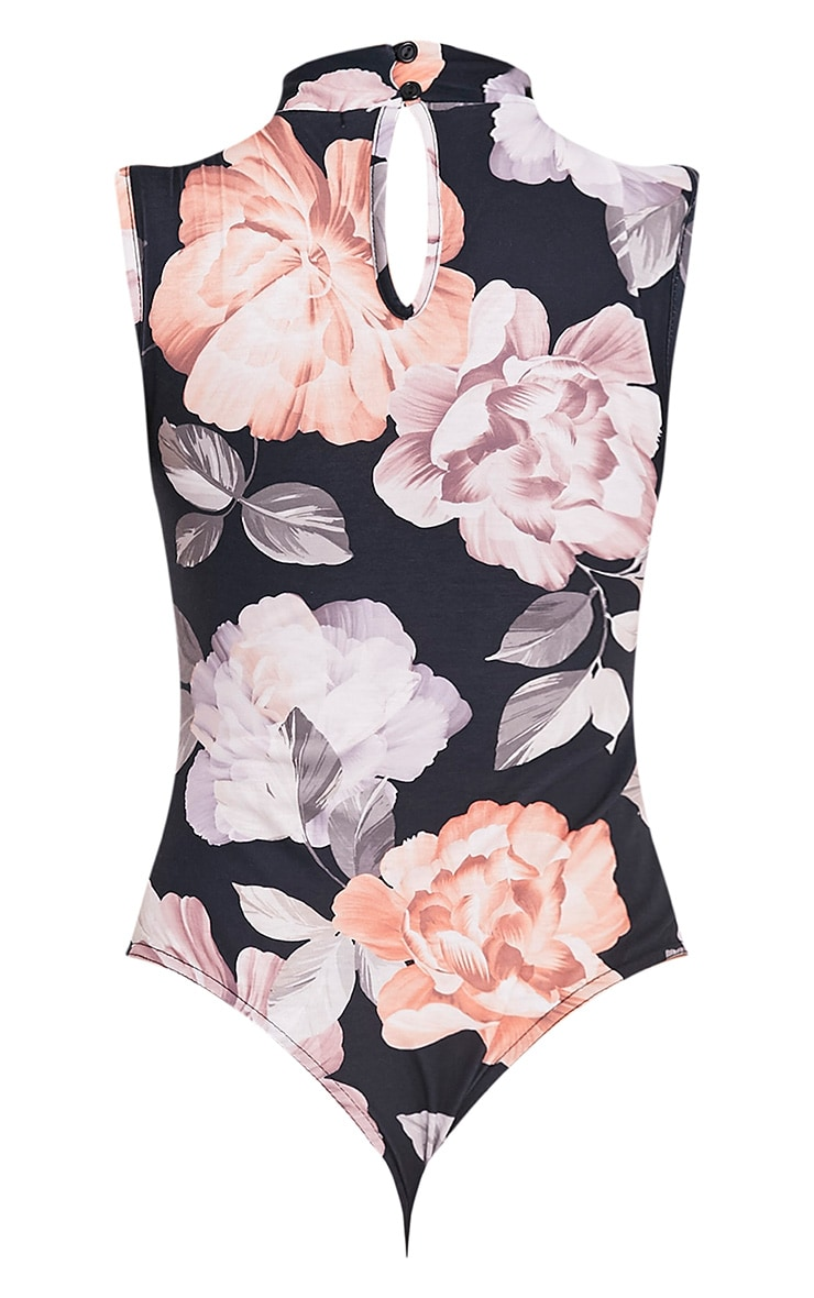 Lois Black Floral Print Cut Out Neck Thong Bodysuit 4