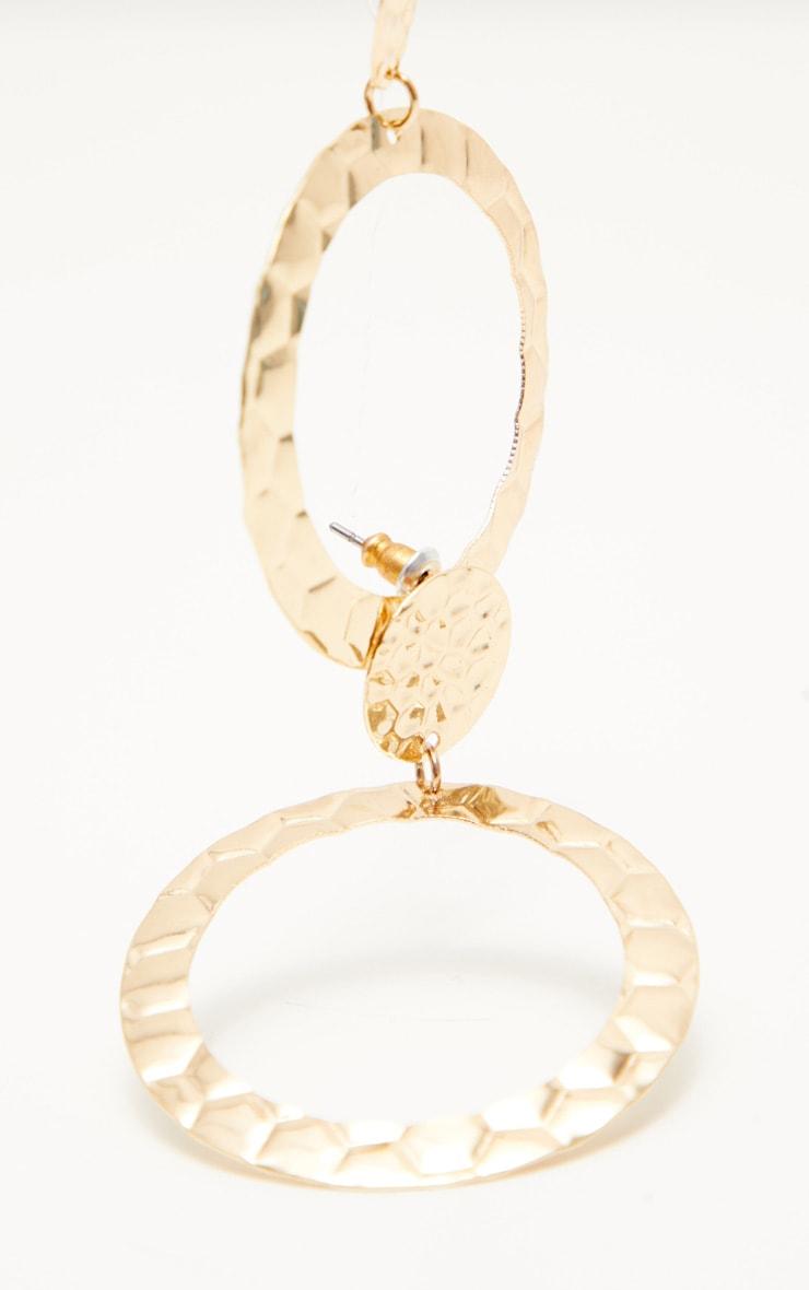 Gold Hammered Hoop Earrings 3