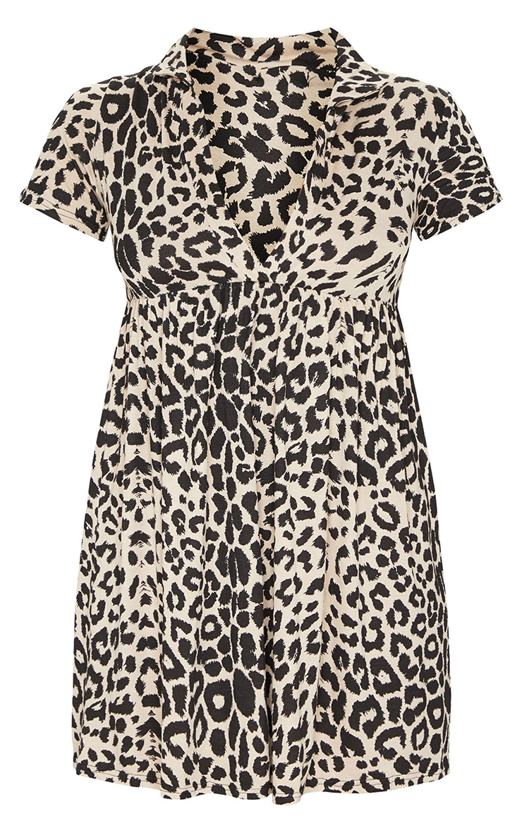 Brown Leopard Print V Neck Smock Dress 5