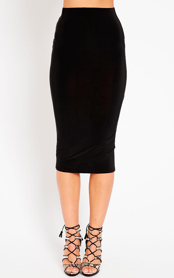 Ava Black Slinky Midi Skirt 2