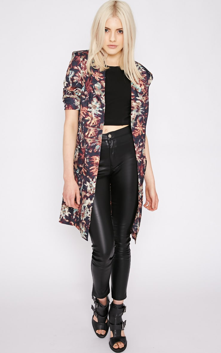 Patti Navy Floral Print Duster Jacket  4