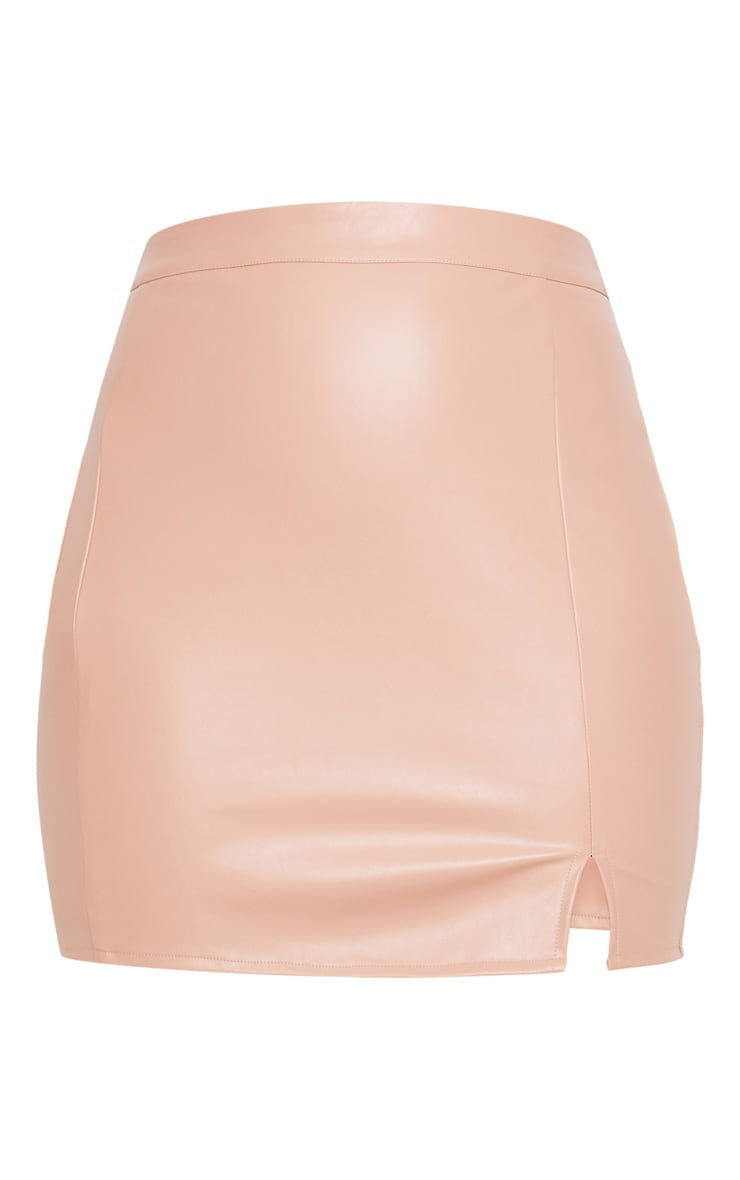 Blush Faux Leather Split Mini Skirt 3