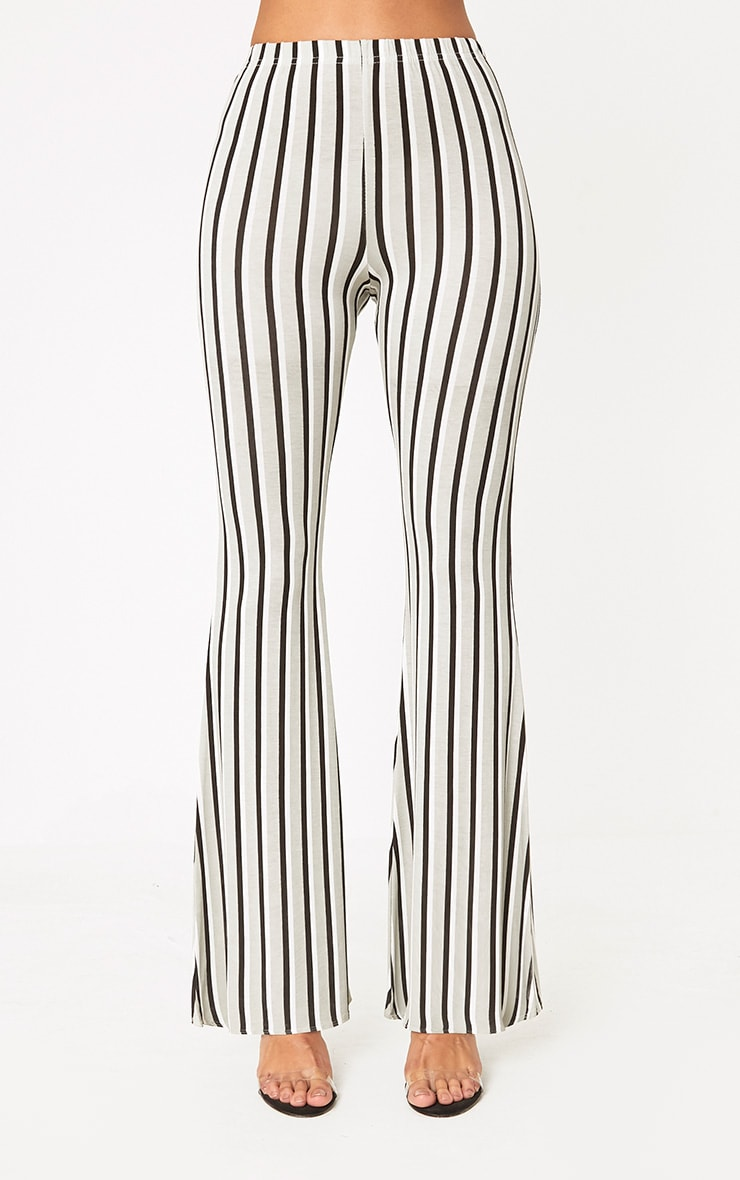 Grey Vertical Stripe Jersey Flared Trousers 2