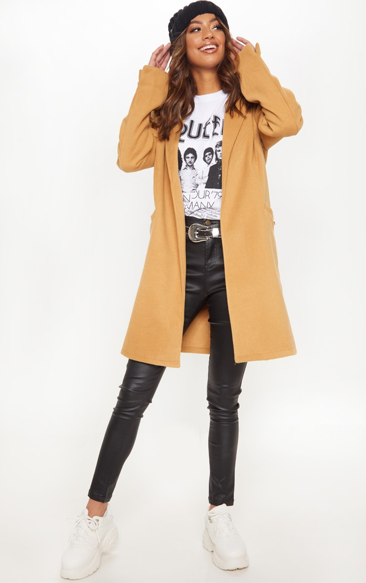 Camel Pocket Front Coat  1