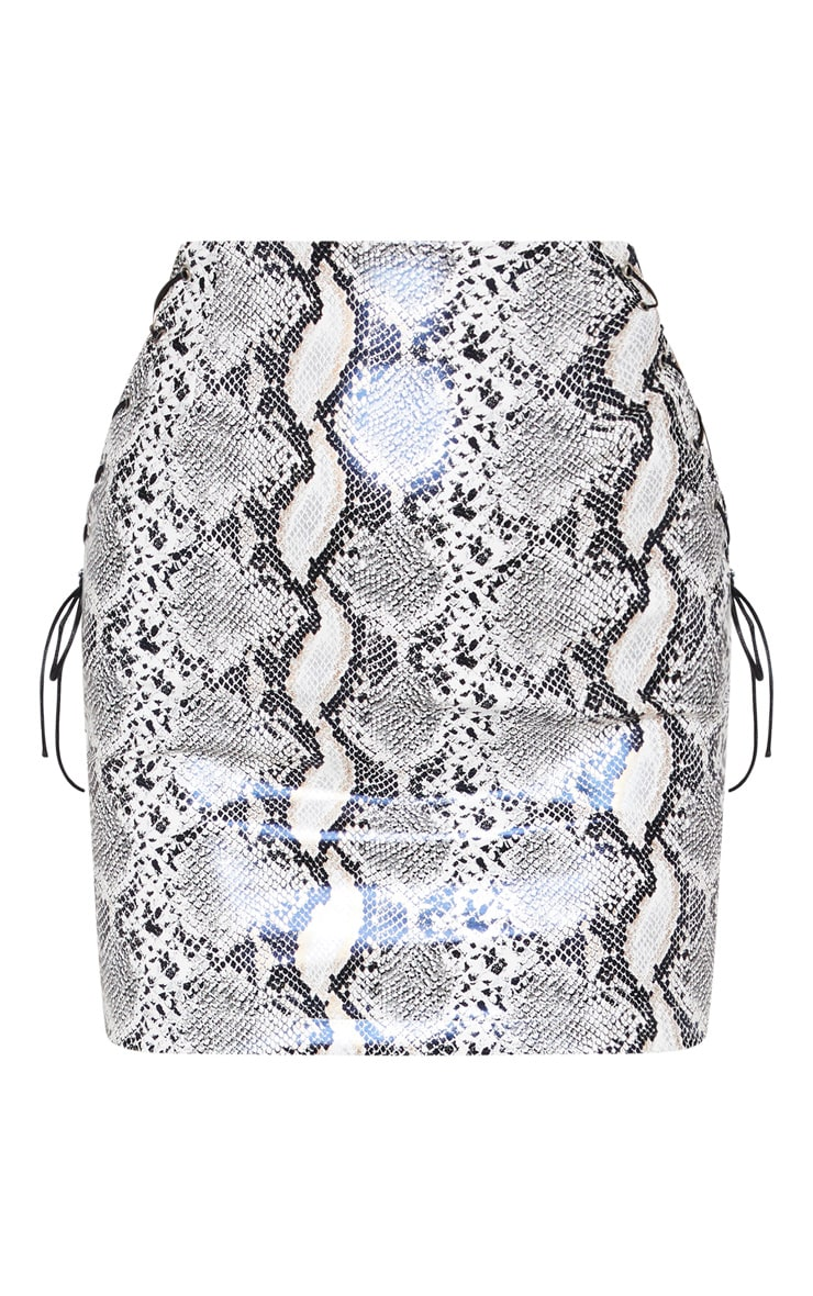 Silver Lace Up Side Snakeskin Mini Skirt 3