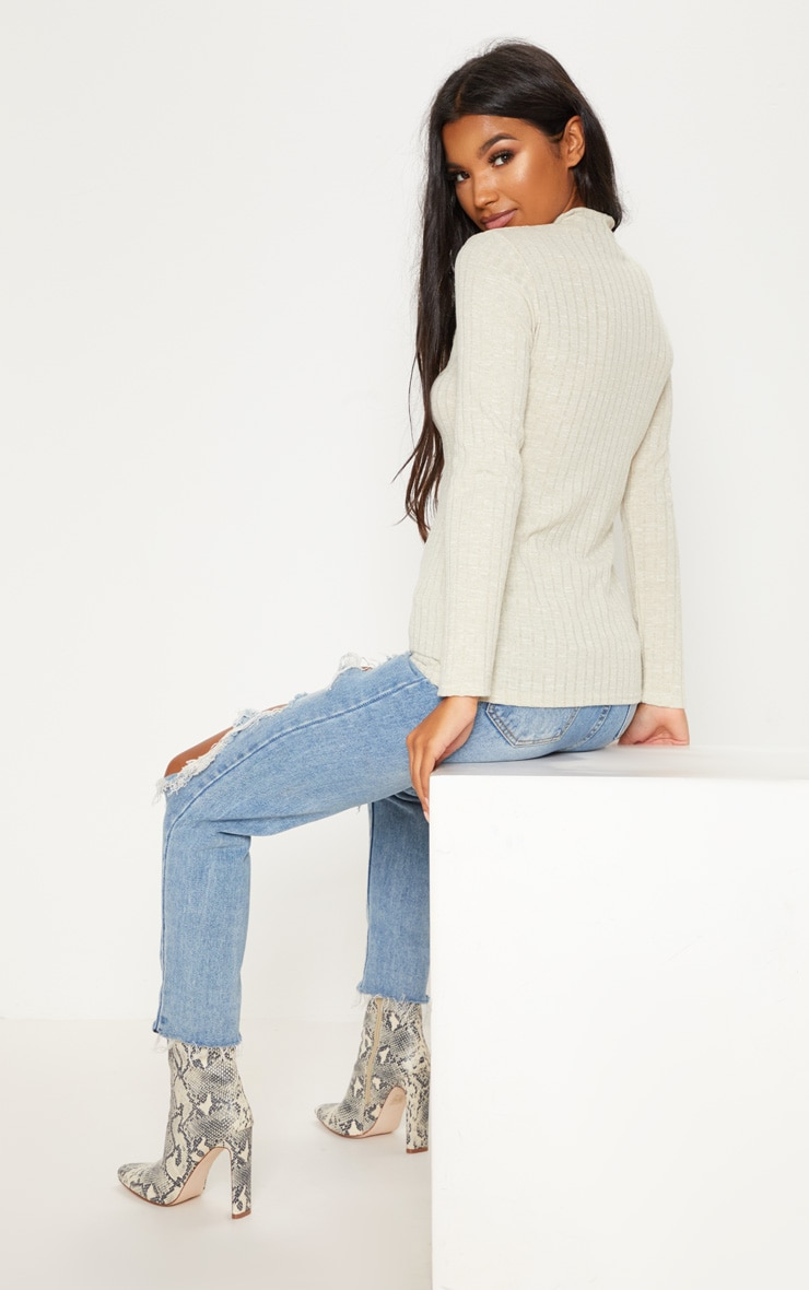 Stone Long Sleeve High Neck Top 2