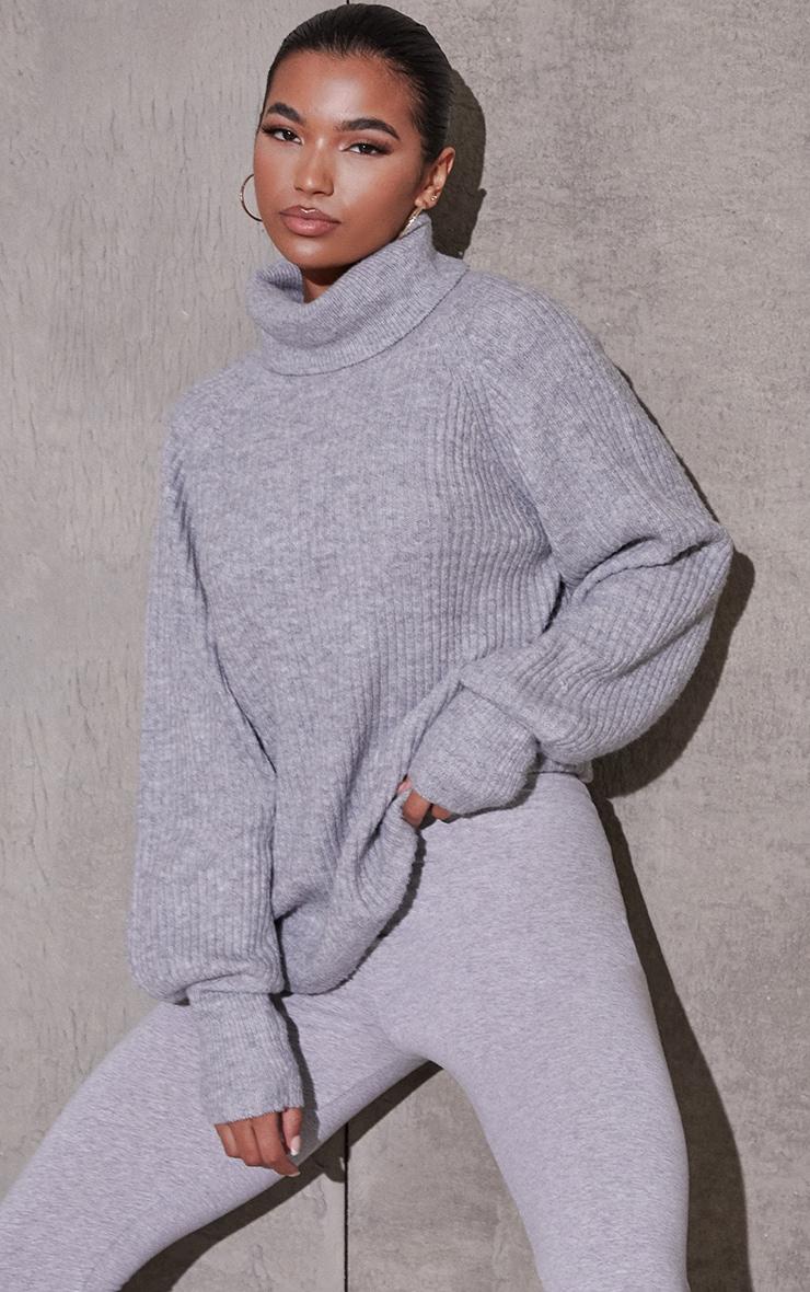 Grey Marl Roll Neck Oversized Longline Sweater 1
