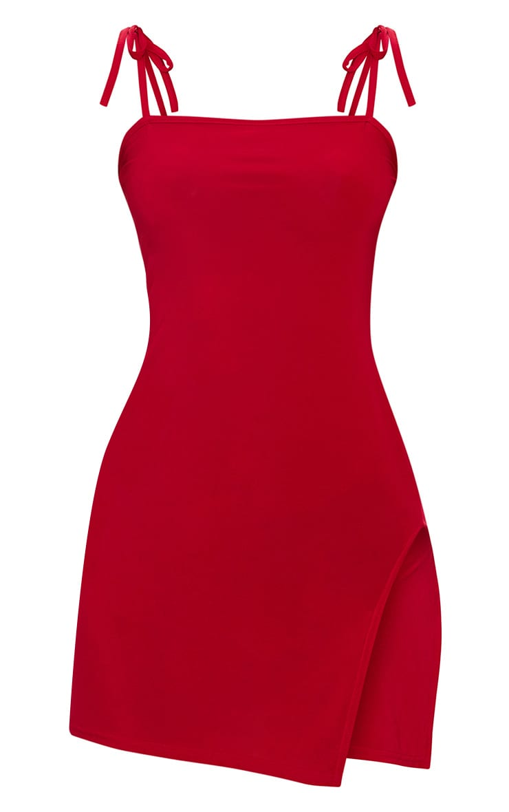 Petite Red Slinky Square Neck Bodycon Dress 3