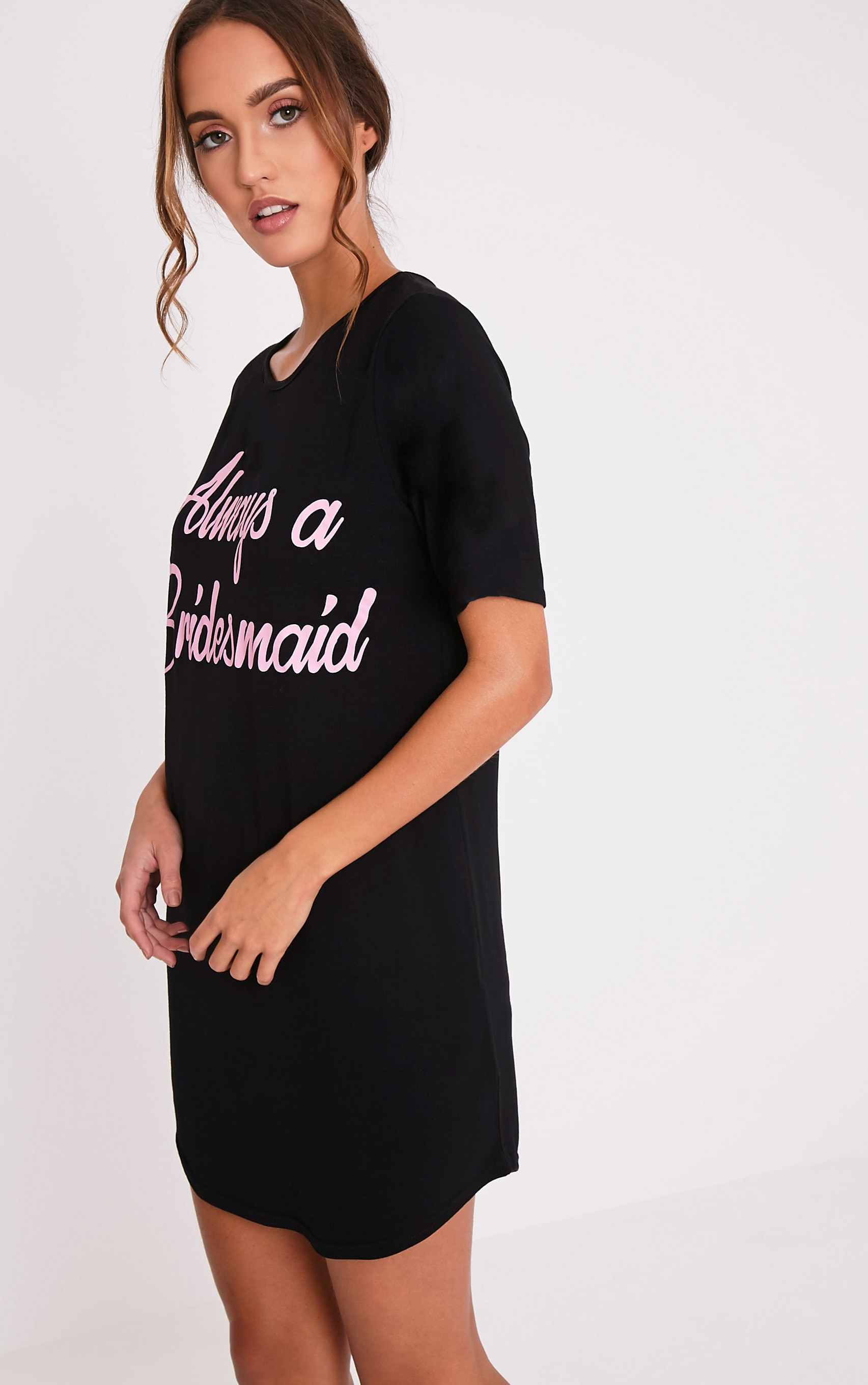 Always A Bridesmaid Black Slogan Oversized Nightie 4