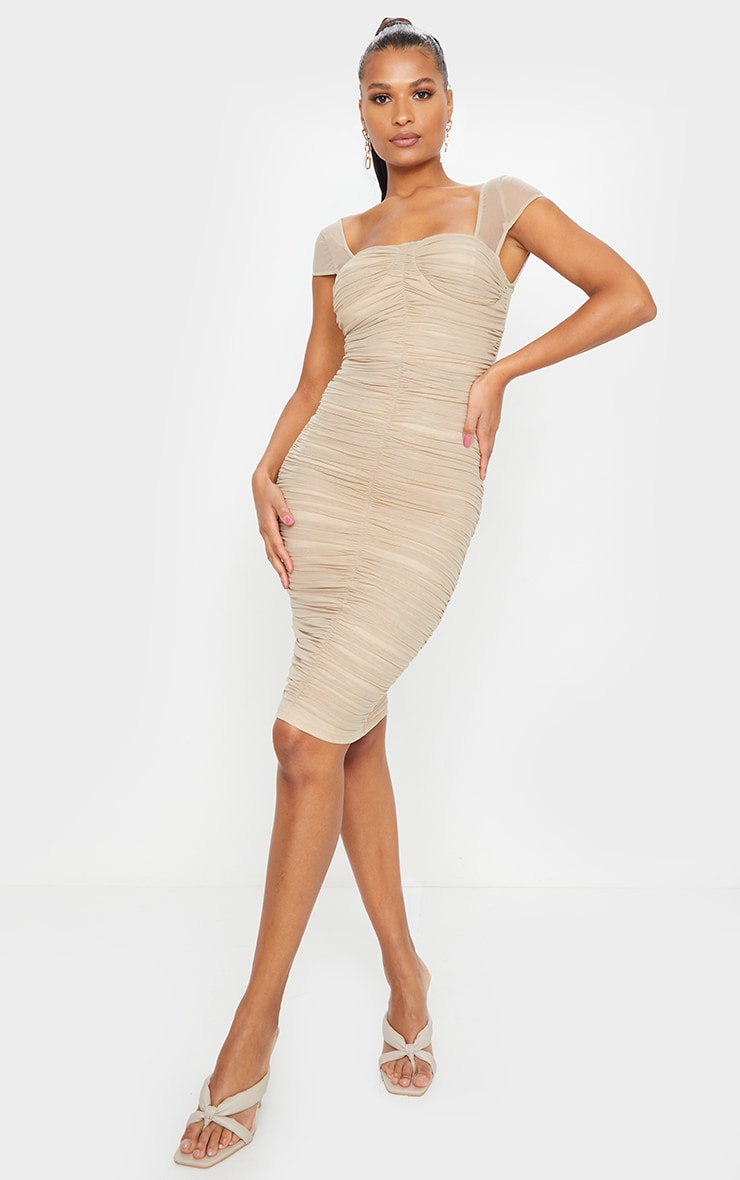 Stone Mesh Ruched Midi Dress 1
