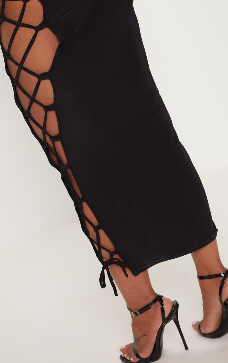 Shape Black Slinky Lace Up Detail Midi Skirt 5
