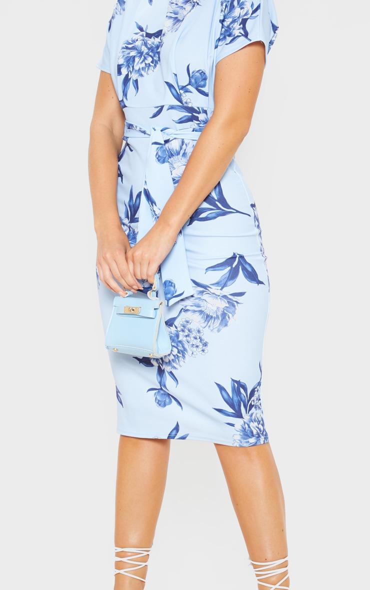 Blue Floral Print Short Sleeve Tie Waist Midi Dress 5