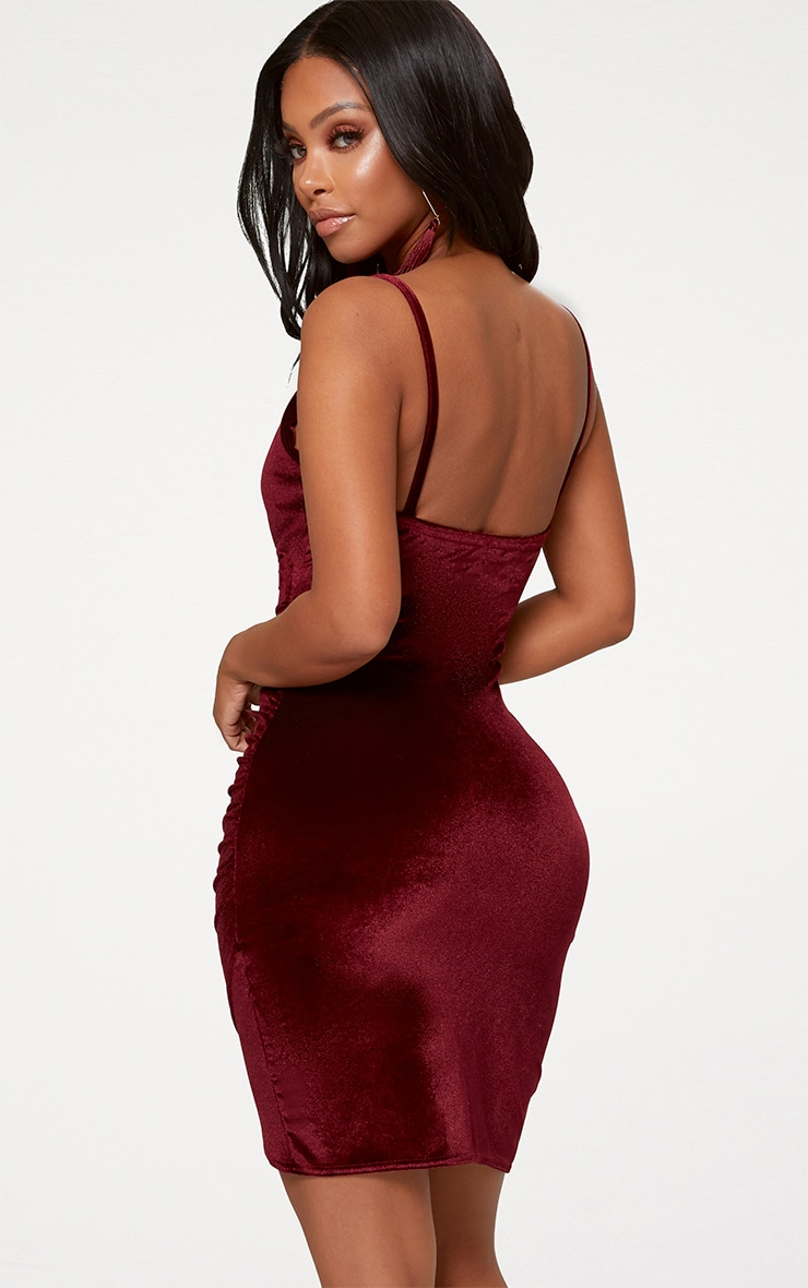 Shape Burgundy Velvet Wrap Front Dress 2
