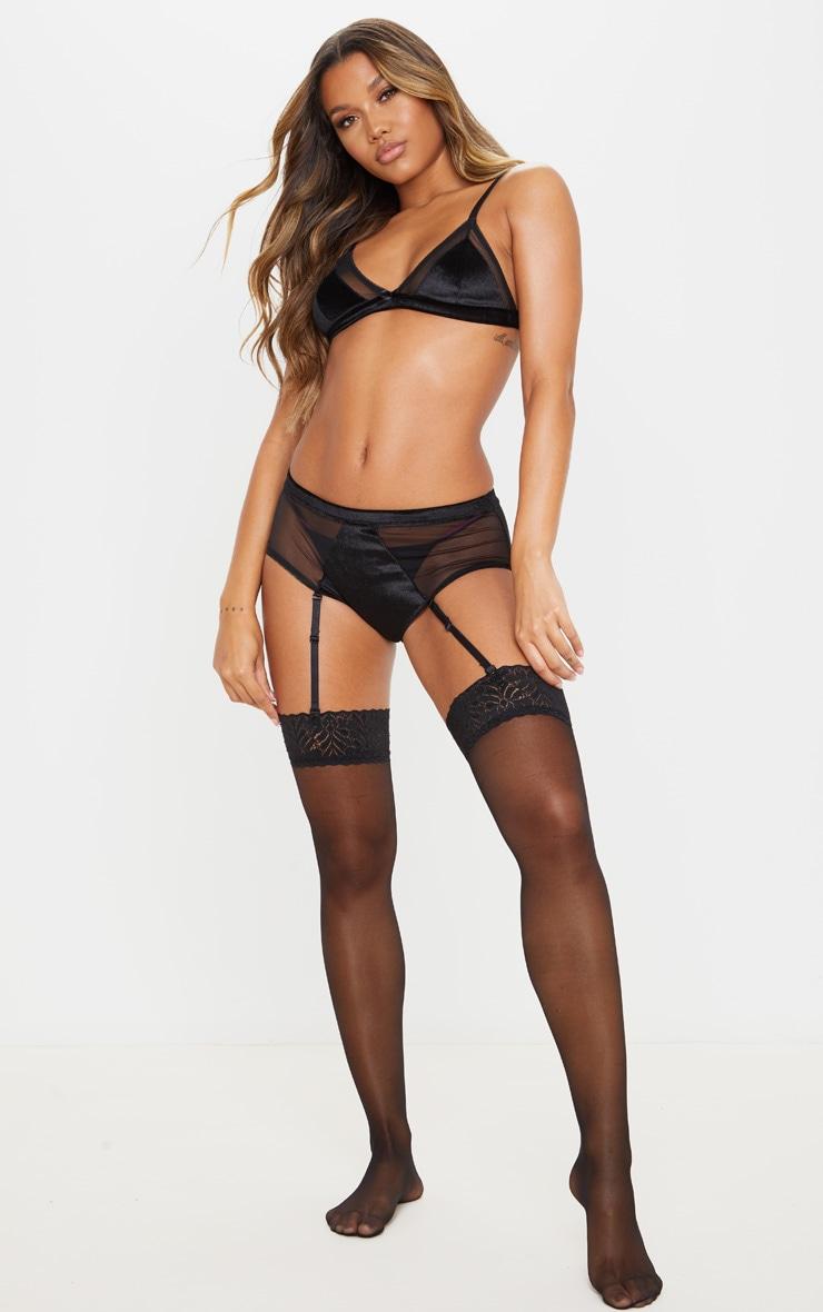 Black Triangle Velvet Bra And Suspender Panties Set 1
