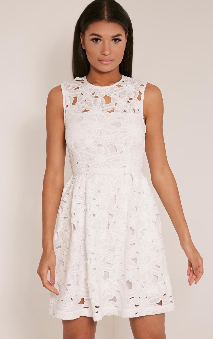Antonia White Crochet Lace Skater Prom Dress 1