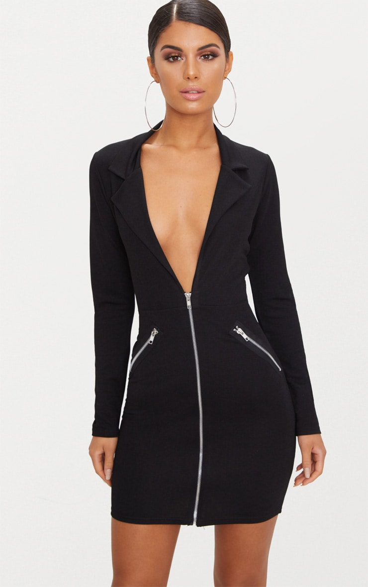 Black Zip Detail Blazer Bodycon Dress 1