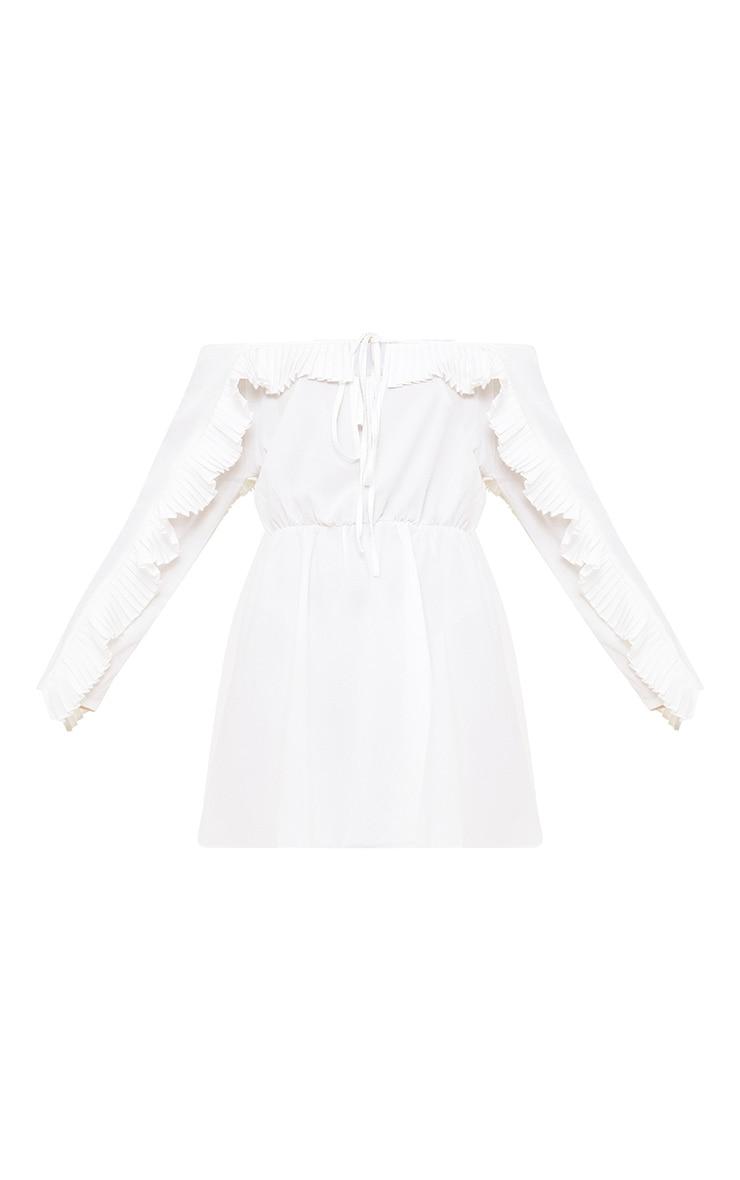 White Pleat Detail Ruched Waist Swing Dress 3
