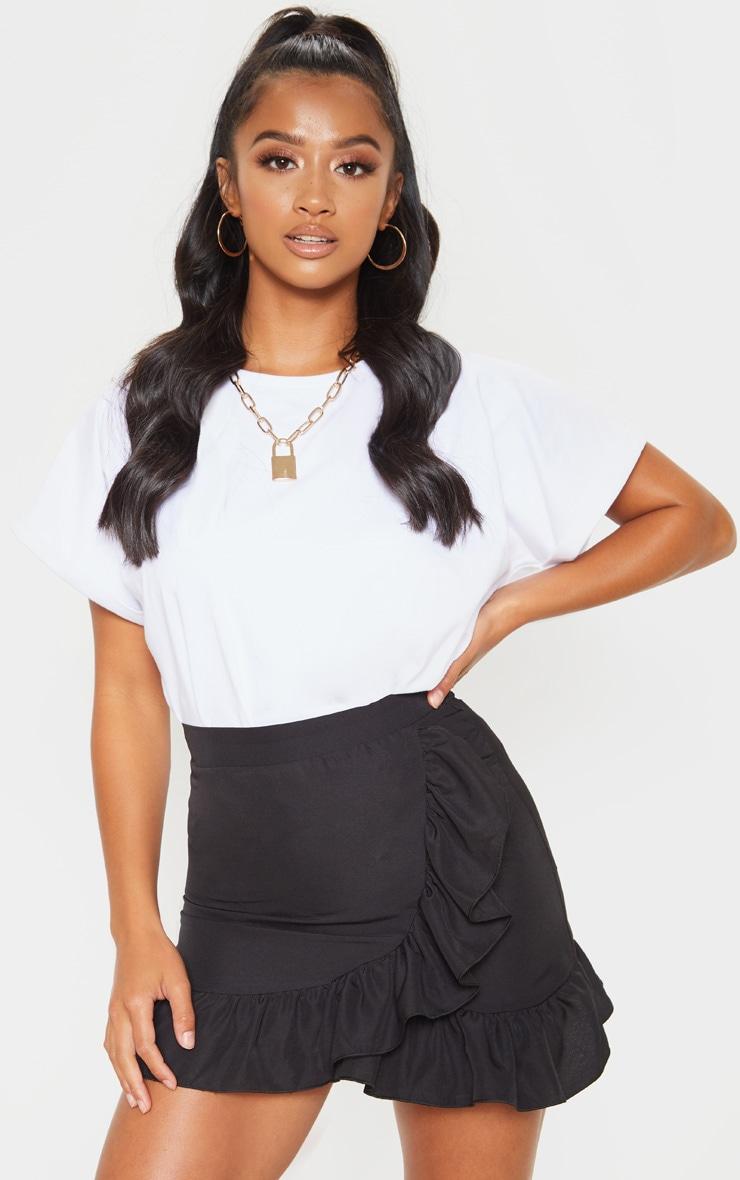Petite Black Frill Hem Wrap Mini Skirt 1