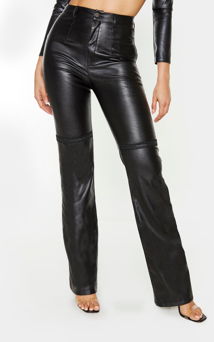 Tall Black PU Straight Leg Trouser 2