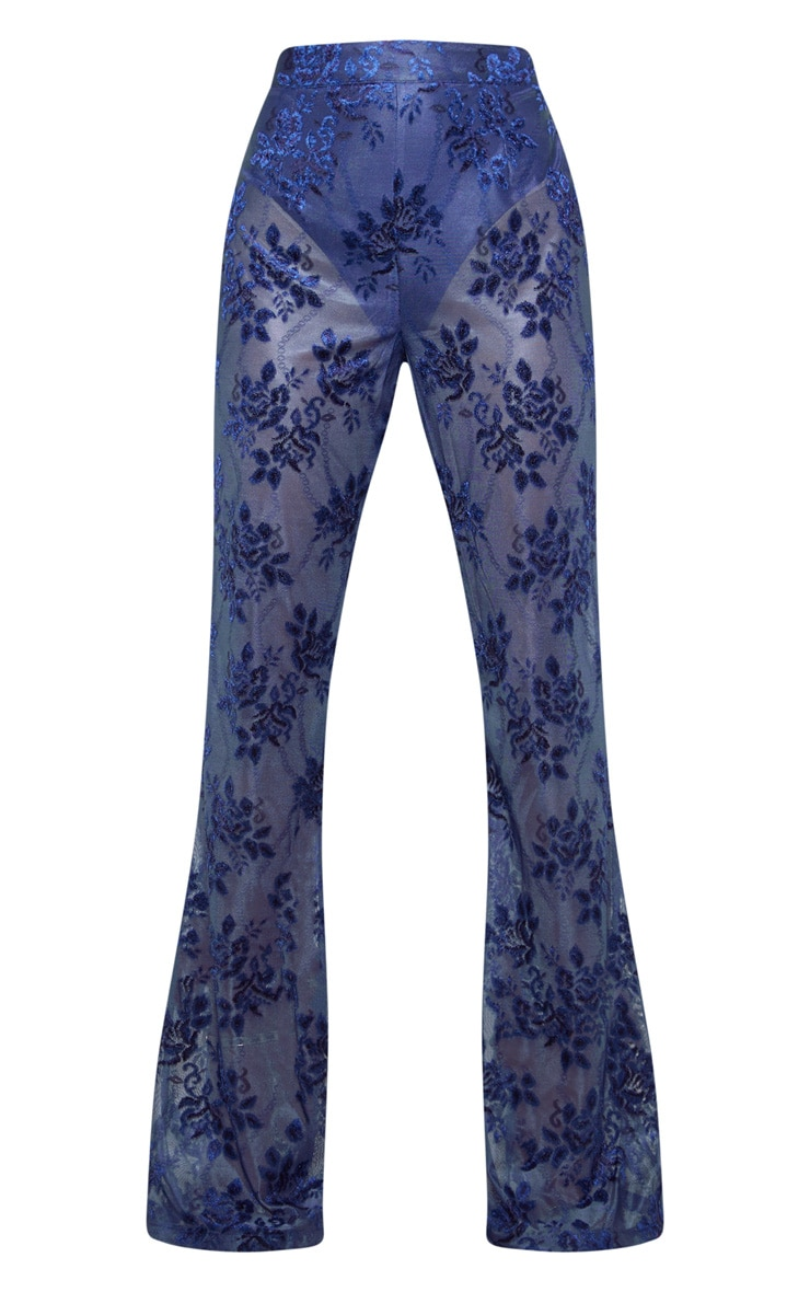 Navy Woven Floral Printed Flare Leg Pants 3