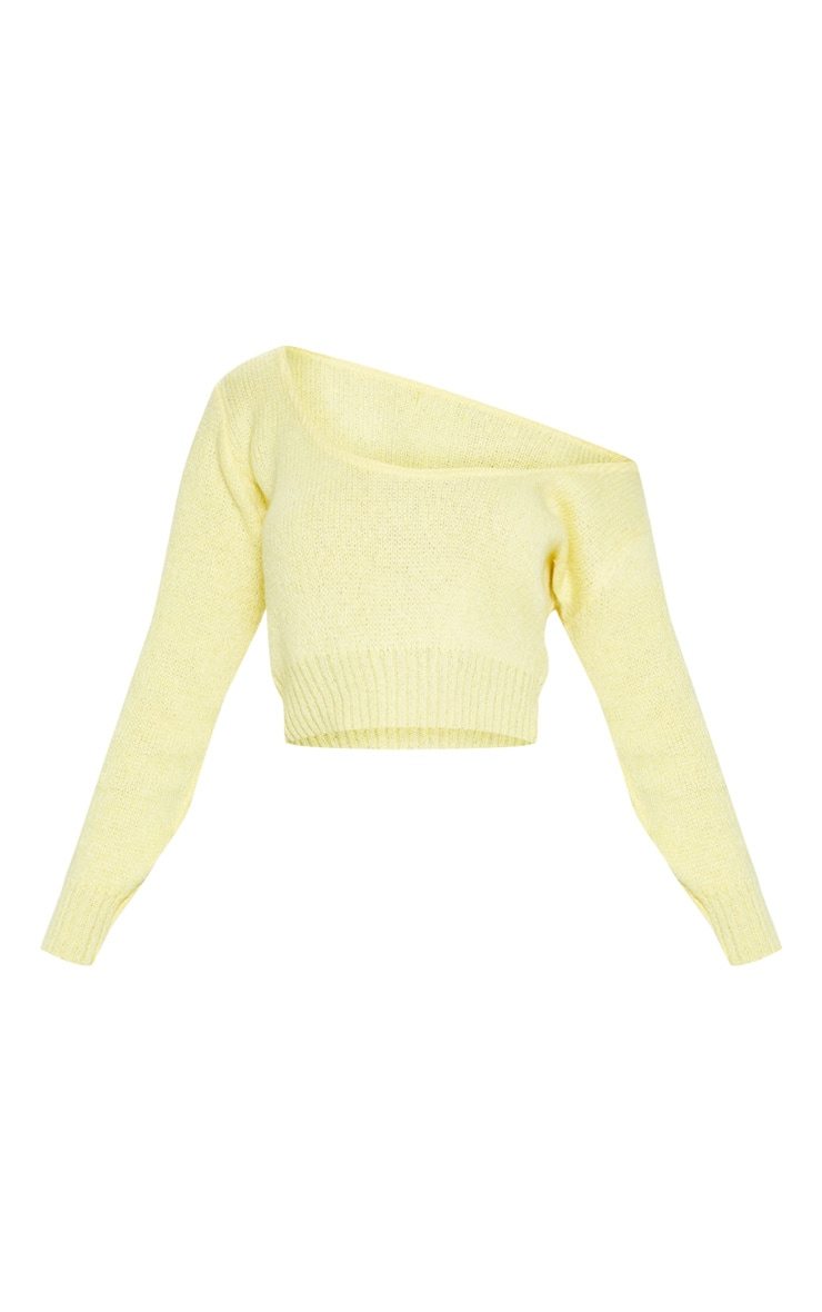 Lemon V Neck Off The Shoulder Soft Knitted Crop Jumper  3