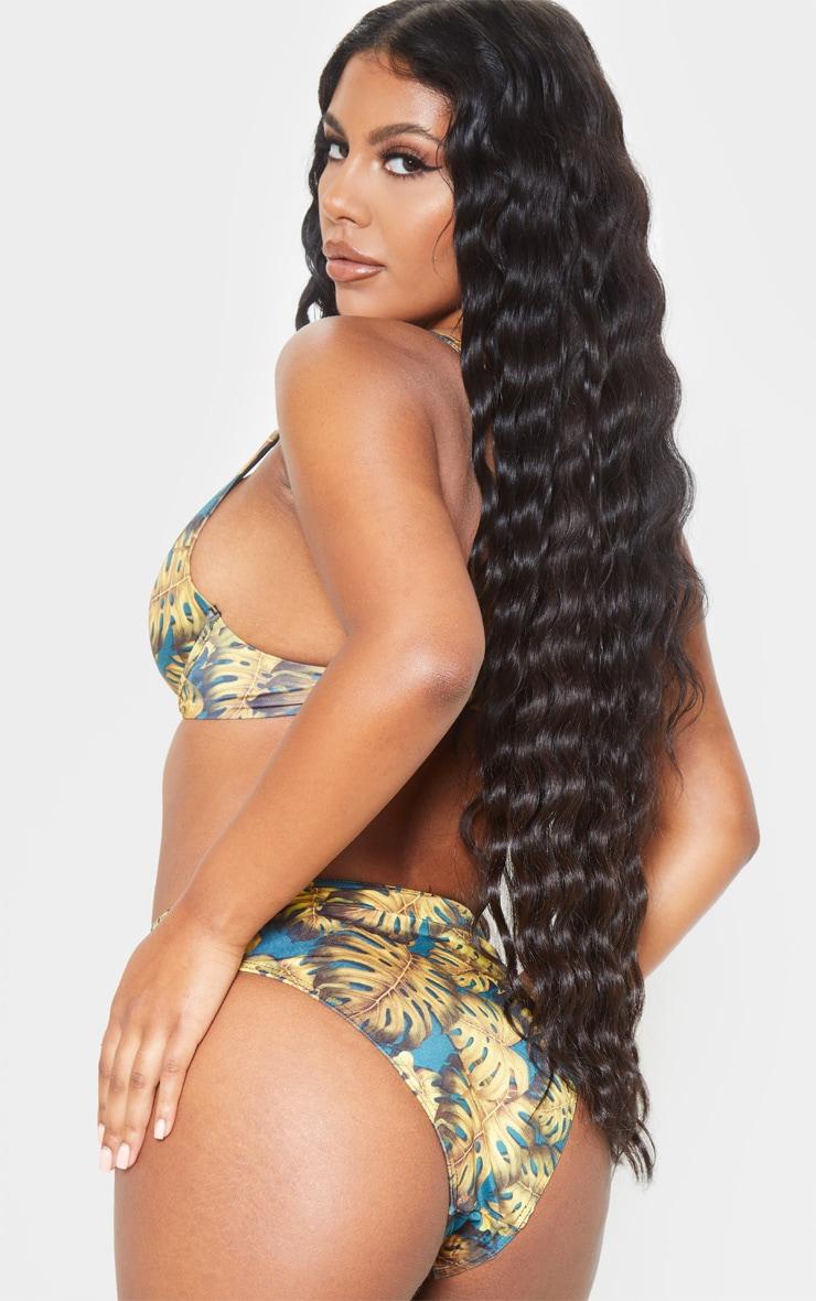 Teal Leaf Print Fuller Bust Underwired Bikini Top 2