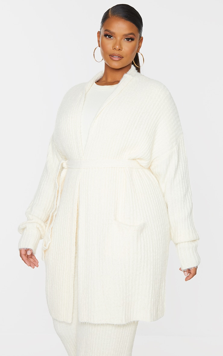 Plus Cream Ribbed Eyelash Knit Belted Cardigan 1