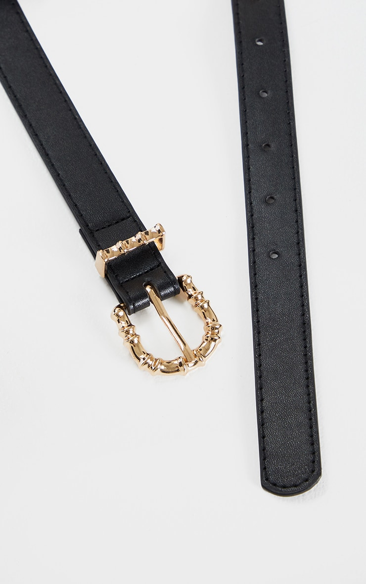 Black PU Gold Bamboo Buckle Belt 3