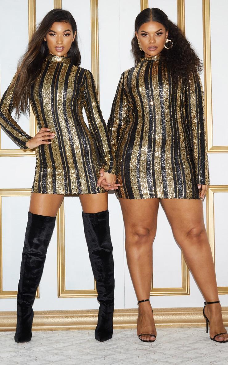 Black Sequin Stripe Bodycon Dress 2