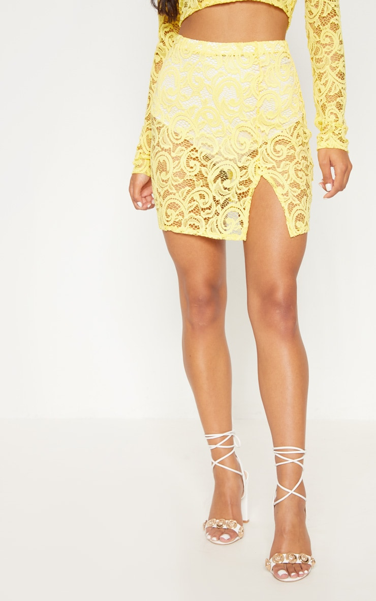 Yellow Lace Mini Skirt With Split 2