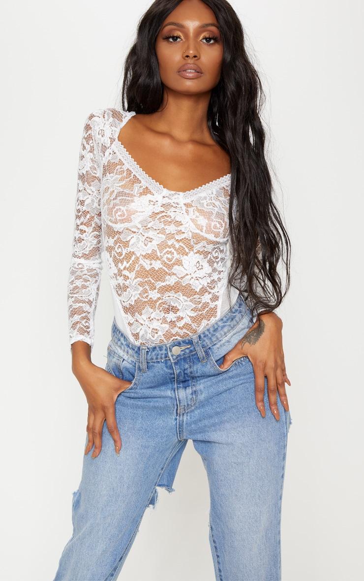 2322b084d9d White Lace Mesh Long Sleeve Bodysuit | Tops | PrettyLittleThing