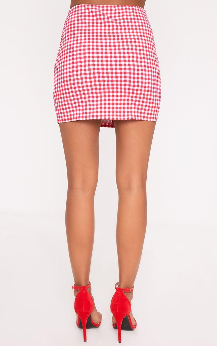 Red Gingham Ruffle Mini Skirt 3