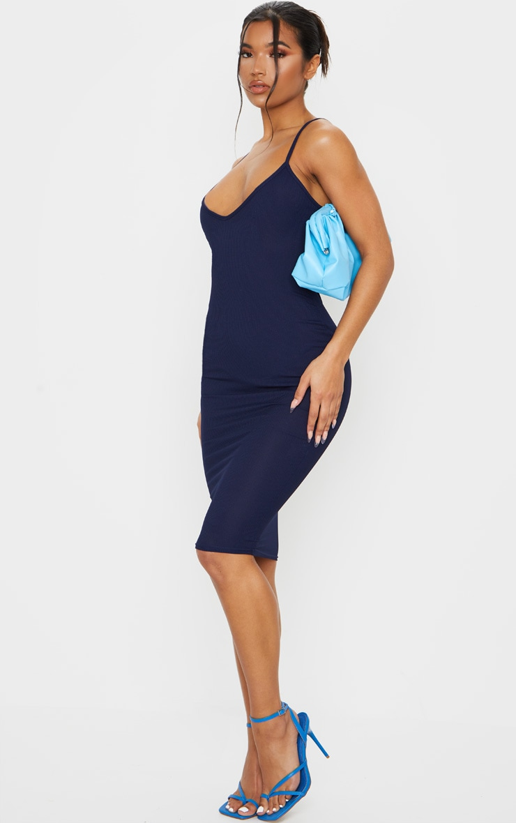 Navy Ribbed Plunge Midi Dress 3