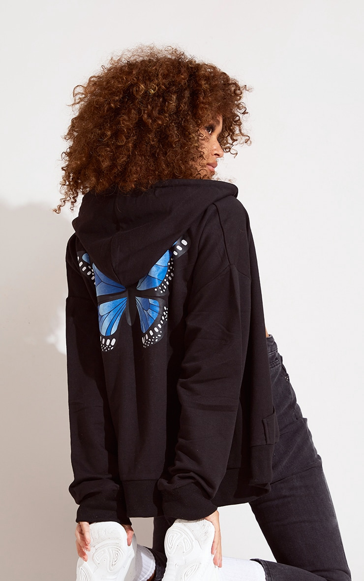 Black Butterfly Oversized Hooded Jacket 2