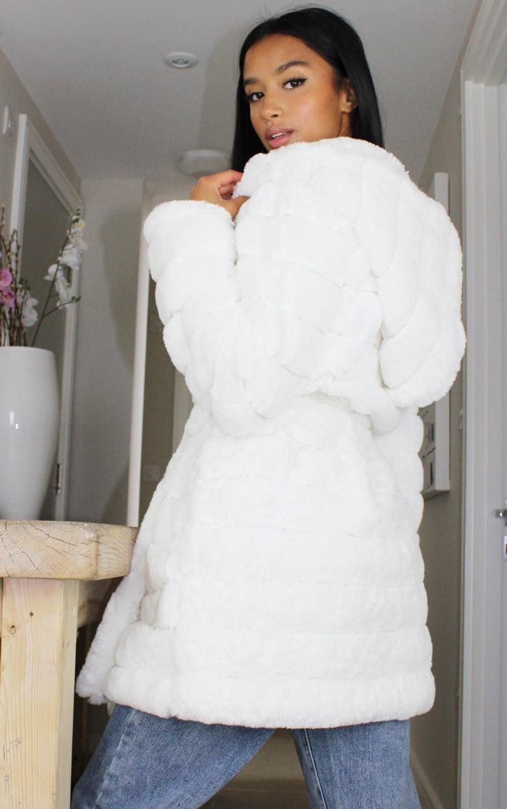 Petite Cream Bubble Fur Tie Front Coat 2