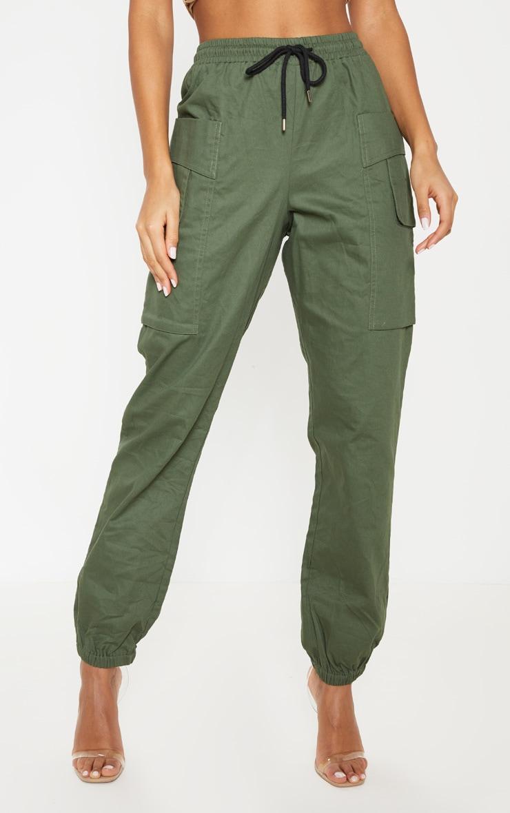Dark Khaki Double Pocket Detail Cargo Pant 2