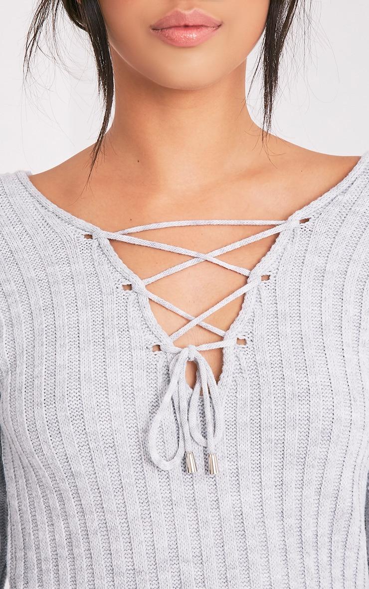 27ac427023 Dalya Grey Lace Up V Jumper - Knitwear - PrettylittleThing ...