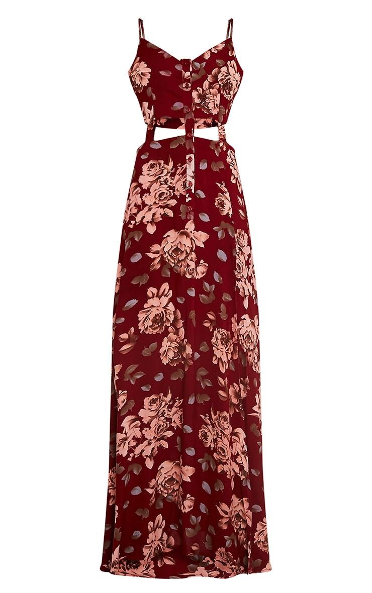 Saleena Burgundy Cut Out Floral Maxi Dress 3