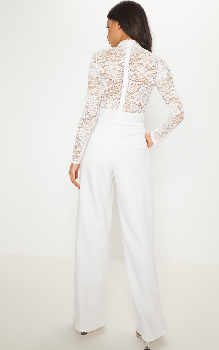 White Lace High Neck Long Sleeve Jumpsuit 2