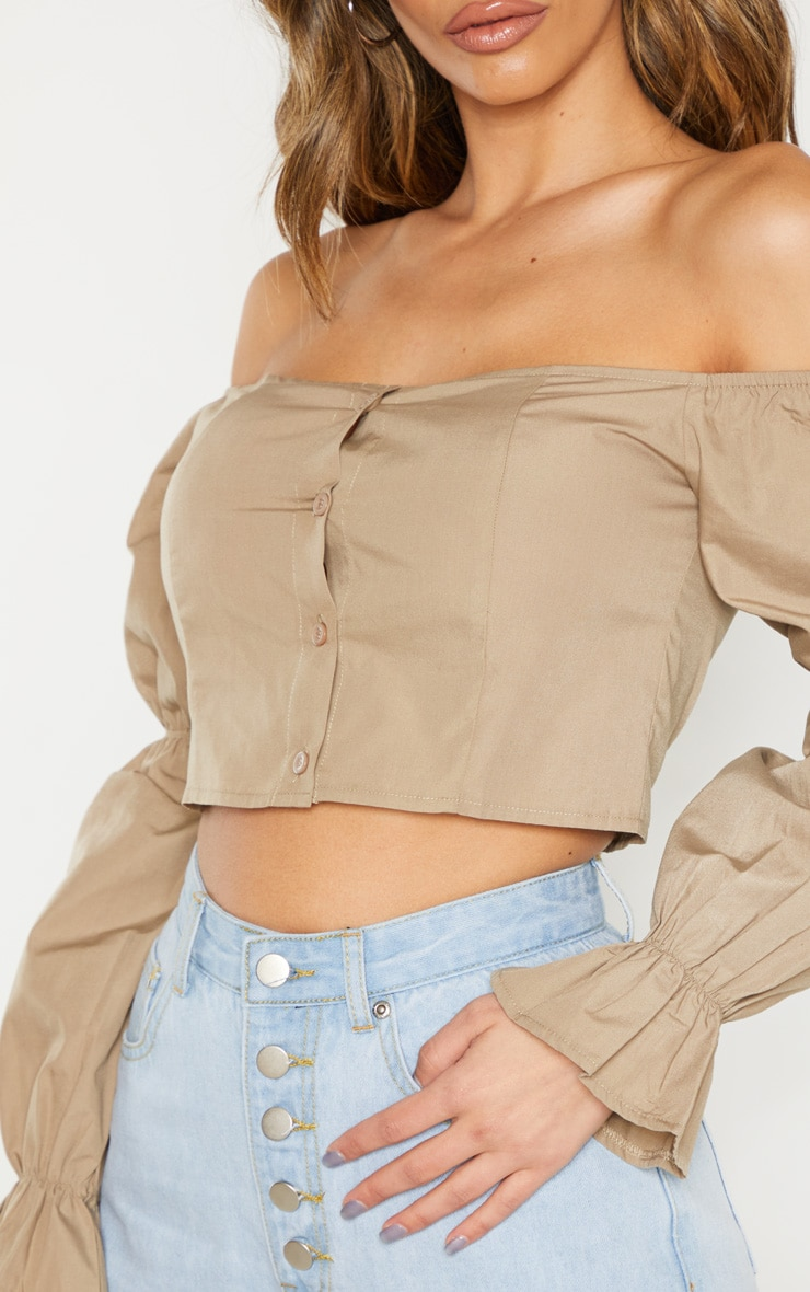 Taupe Button Front Bardot Puff Long Sleeve Crop Top 4