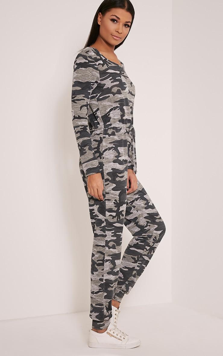 Lottie Grey Camouflage Long Sleeve Casual Jumpsuit 4