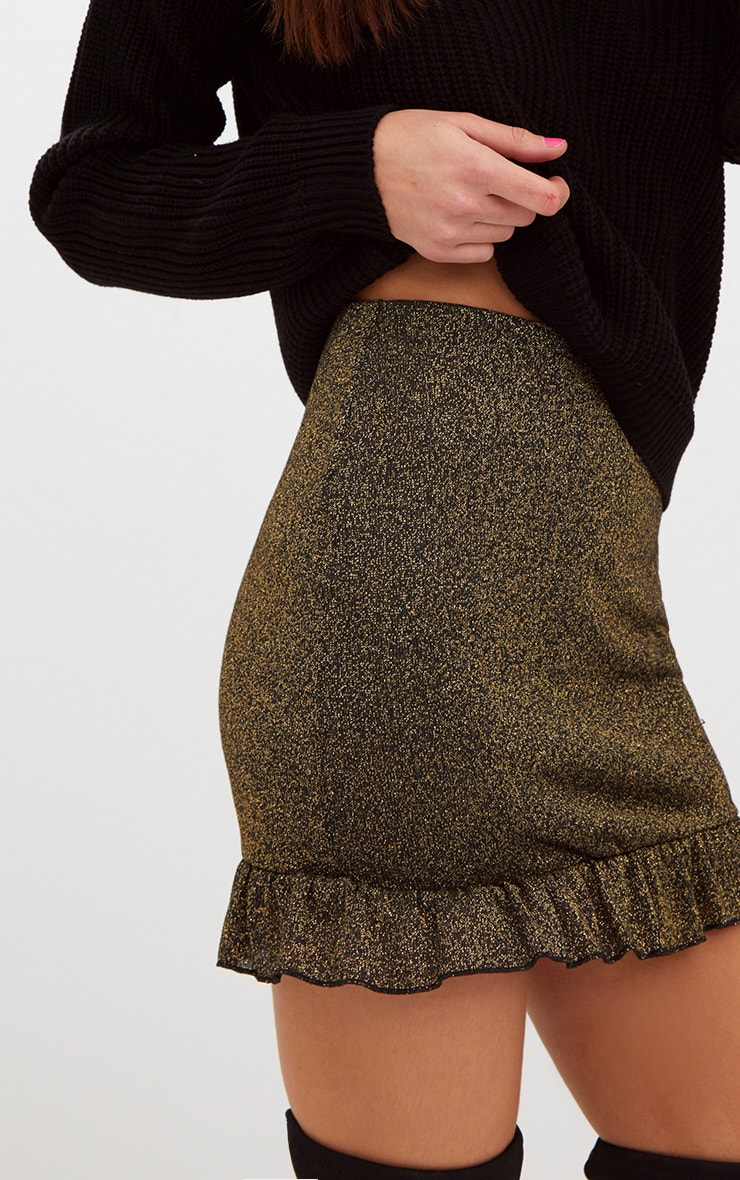 Gold Glitter Frill Hem Mini Skirt 5