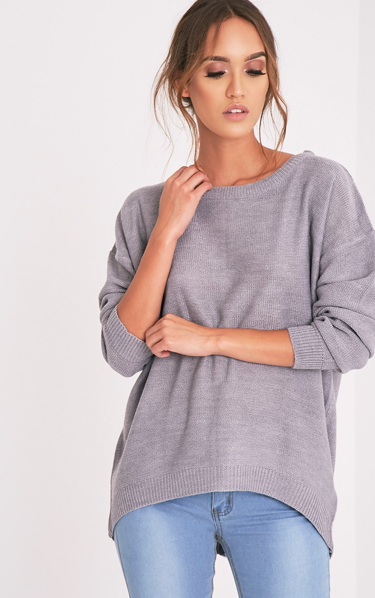 Trisha pull gris tricoté à fermeture Éclair au dos 4