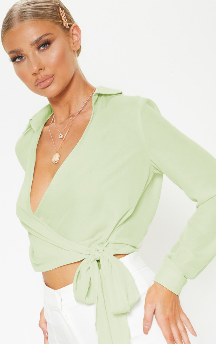 Sage Green Wrap Front Tie Side Blouse 5