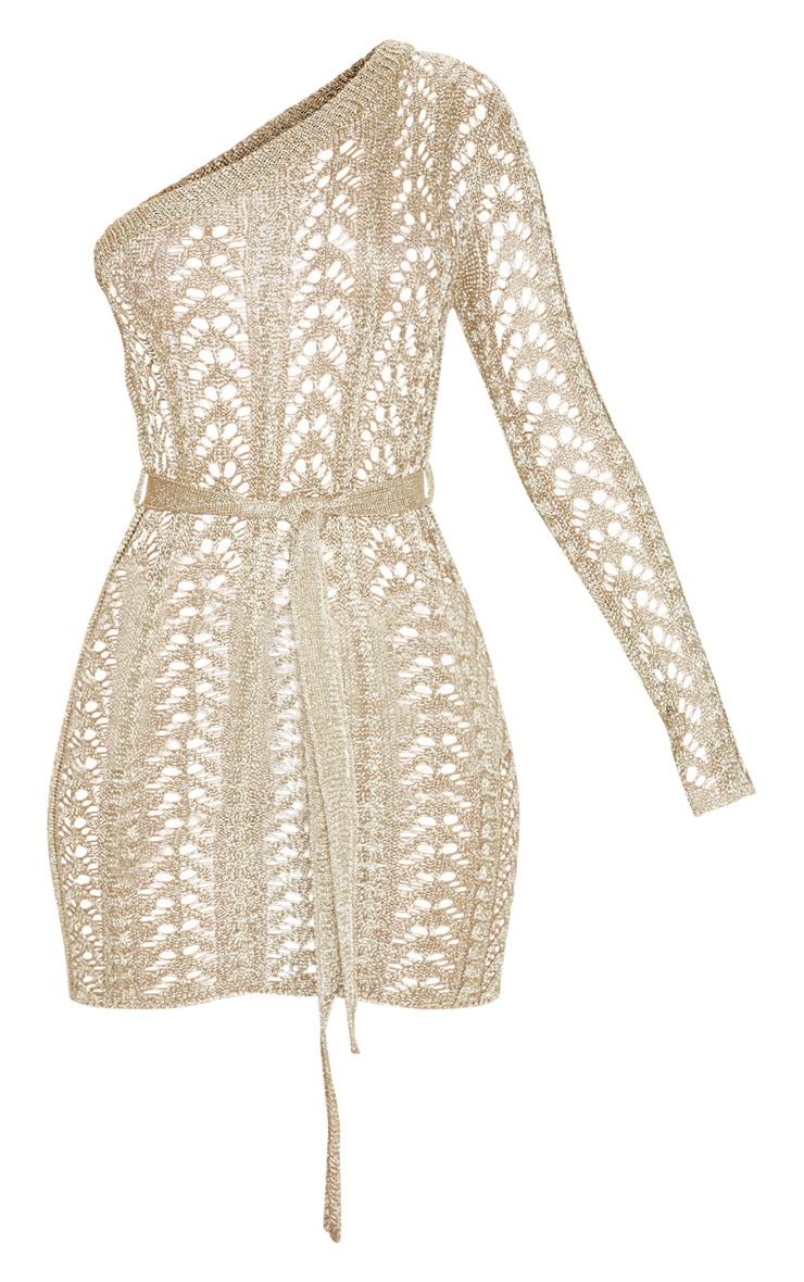 Gold Metallic Knitted Detail One Shoulder Mini Dress  3